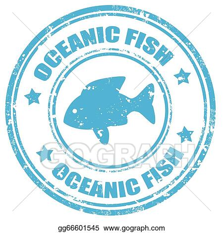 Vector illustration oceanic fish stamp eps clipart for Fish symboled stamp