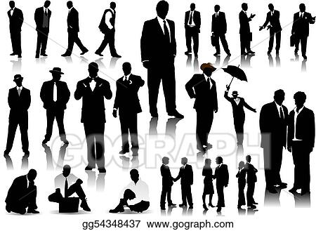 Office people silhouettes. Vector with one click color change