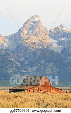 old barn and mountain