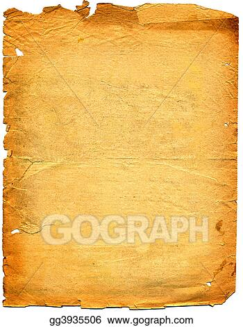 Old textured paper with tattered edge. On white.