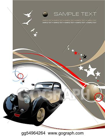 Old vintage car. Colored Vector illustration for designers