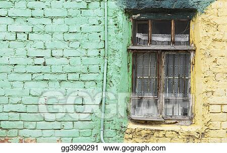 old window and green wall -focus on the window