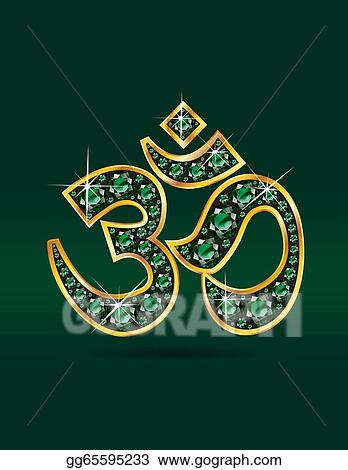 Clip Art Vector Om Symbol In Gold With Emeralds Stock
