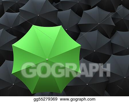 One green and many black umbrellas