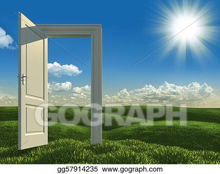open white door to the meadows