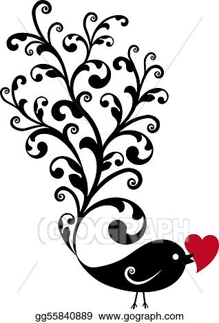 ornamental bird with red heart