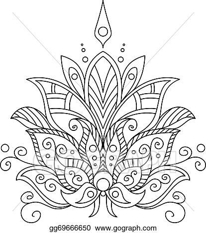 eps illustration ornate dainty vintage floral motif vector clipart gg69666650 gograph. Black Bedroom Furniture Sets. Home Design Ideas