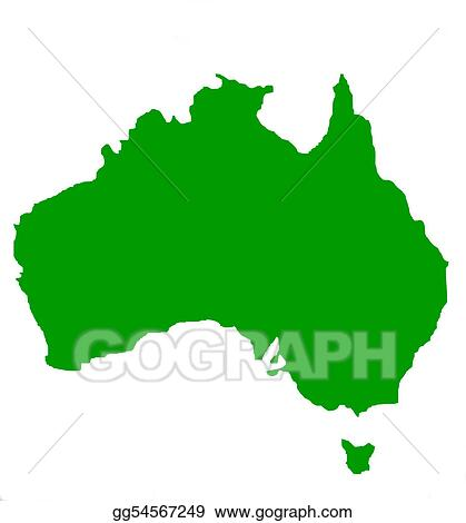 Outline map of Australia and Tasmania