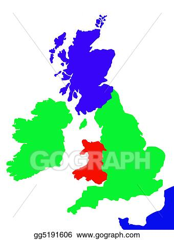 Stock Illustration - Outline map of united kingdom and france ...