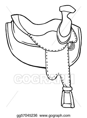 Vector Illustration - Outlined horse saddle. EPS Clipart ...