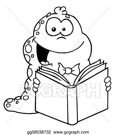Vector Illustration Outlined Reading Worm Stock Clip