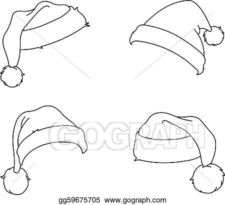 Santa Hat Outline Clip Art Vector art - outlined santa hats. eps ...