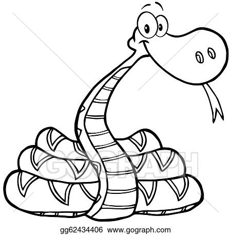 Vector Art - Outlined snake cartoon character. Clipart ...