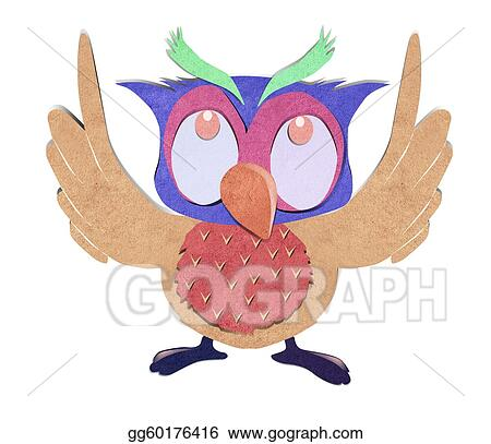 Stock Photo - Owl bird paper craft stick background. Stock Photos
