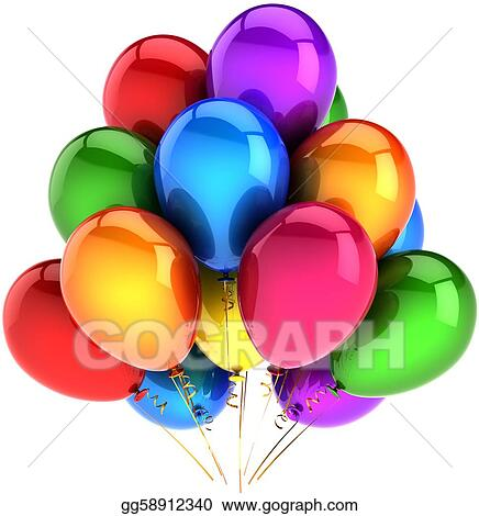 Party balloons colored as rainbow