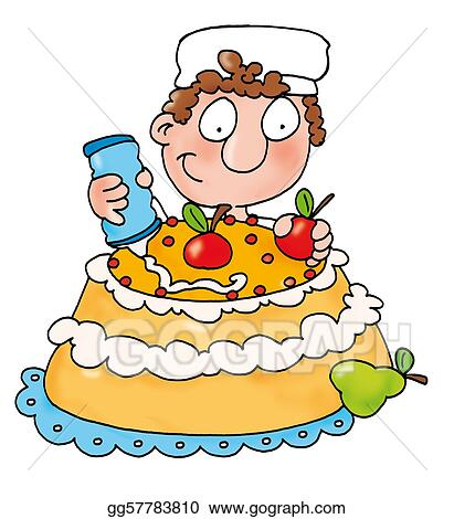 Stock Illustration - Pastry chef makes cake. Clipart gg57783810 ...