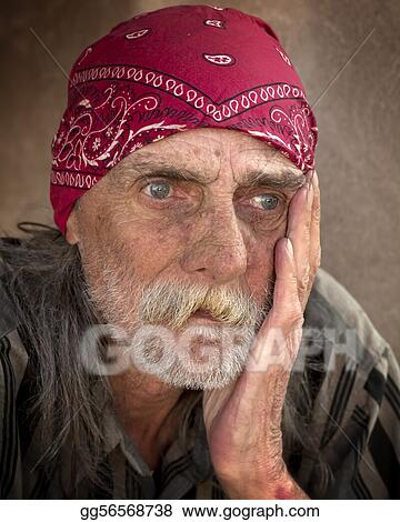 Pensive Portrait of Homeless Man