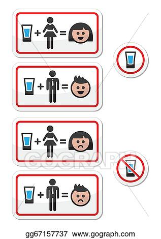Vector Illustration - People drinking alcohol - sad and h. EPS ...