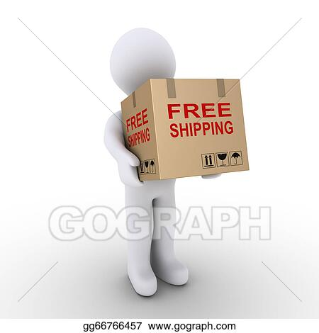 Stock illustration person is shipping for free a carton for How to send a shipping label to someone