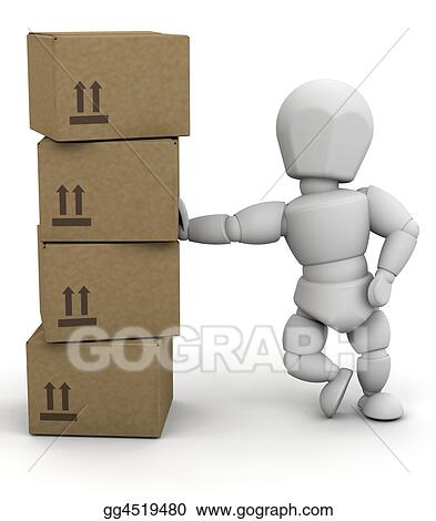 Person leaning on boxes