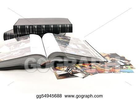 Photo albums and opened album with photos isolated on white background