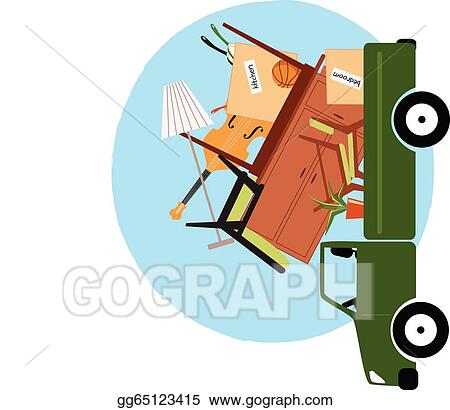 Pickup truck loaded with furniture