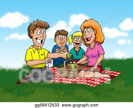 ... family enjoying a picnic in the park. Clipart Drawing gg58412533