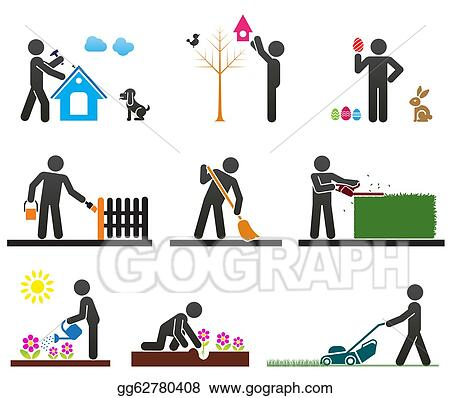 Yard Work Clean Up Clip Art Pictograms-representing-people ...