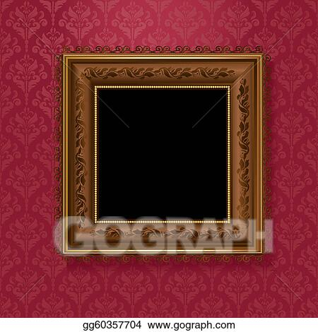 picture frame on vintage wallpaper