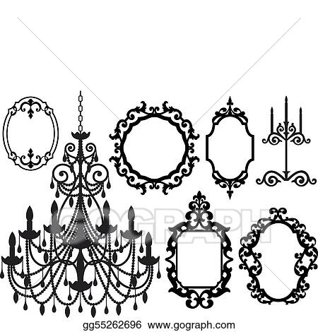 picture frames and chandelier