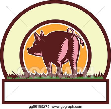 EPS Vector - Pig tail rear circle woodcut. Stock Clipart ...