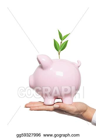 piggy bank in woman hand - protect your money. Financial concept