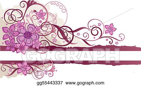 Pink floral banner with space for text