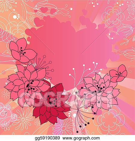 Pink saint valentine's frame with stylized contour flowers