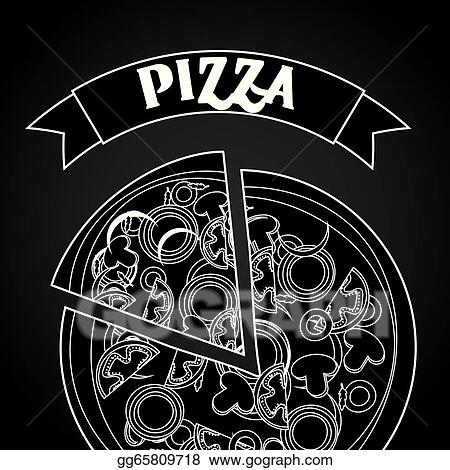 Stock Illustration - Pizza design over black background vector