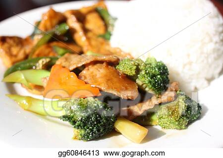 Plate of vegan Chinese food