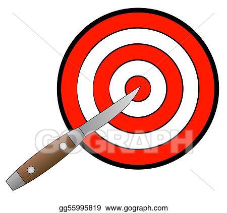 Stock Illustration Pocket Knife Aimed At Target Clipart