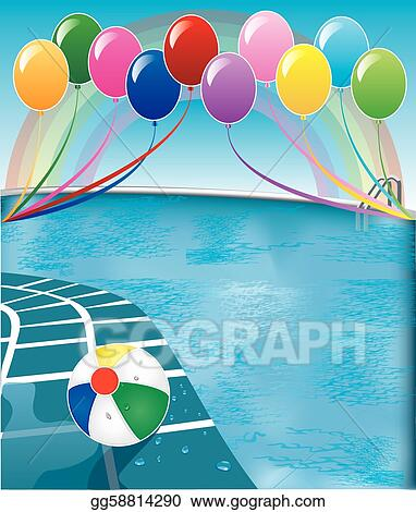Clip art vector vector illustration of pool party with balloons and