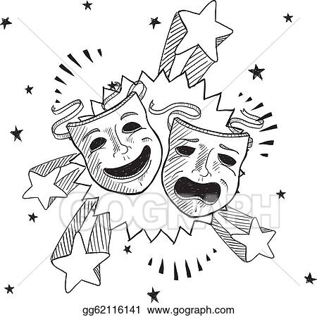 Vector Illustration - Pop theater masks sketch. EPS Clipart ...