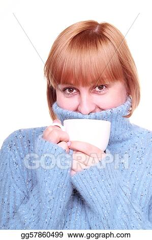 Portrait of a smiling middle aged woman having coffee, isolated on white background