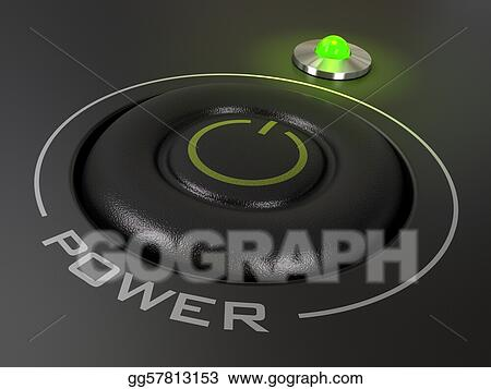 power button on a personal computer, the green led is light up, image is over a black background