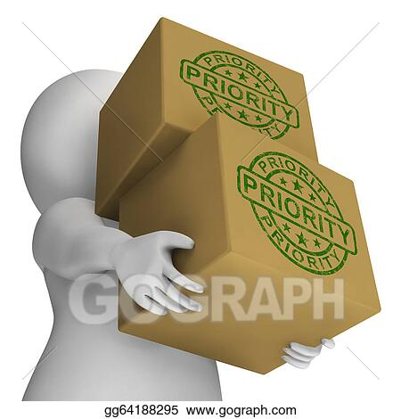 Clip Art - Priority Stamp On Boxes Showing Rush And Urgent Services    Rush Delivery Stamp