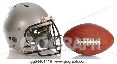 Protective football helmet and leather football with reflection