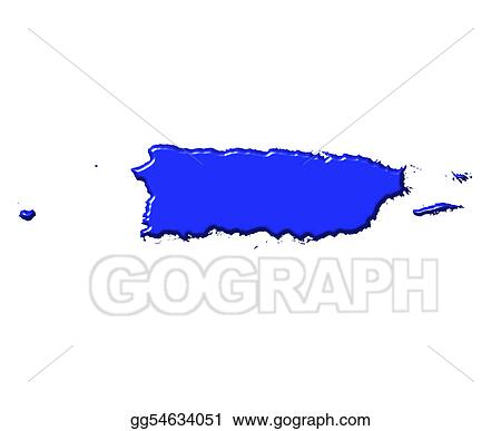 Puerto Rico 3d map with national color
