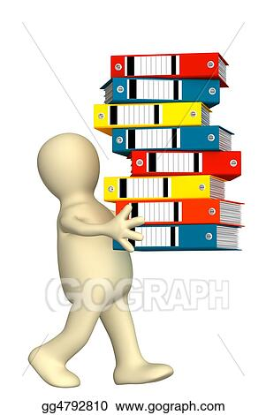 Puppet, carrying folders