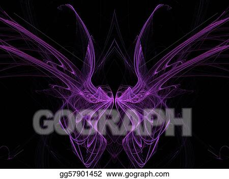 Stock illustration abstract fractal illusion of purple butterfly