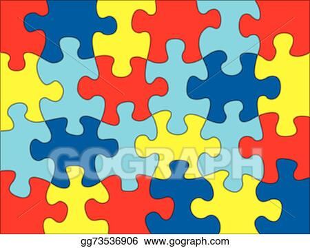 EPS Illustration - Puzzle pieces in autism awareness colors ...