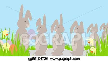 Rabbits Queue for Easter Eggs