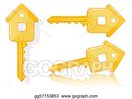 Vector Art - Real estate concept with house key - vector. Clipart ...