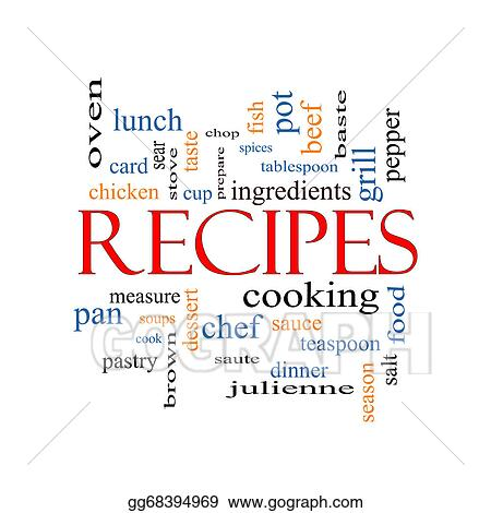 Stock Illustration - Recipes word cloud concept. Clipart Drawing ...
